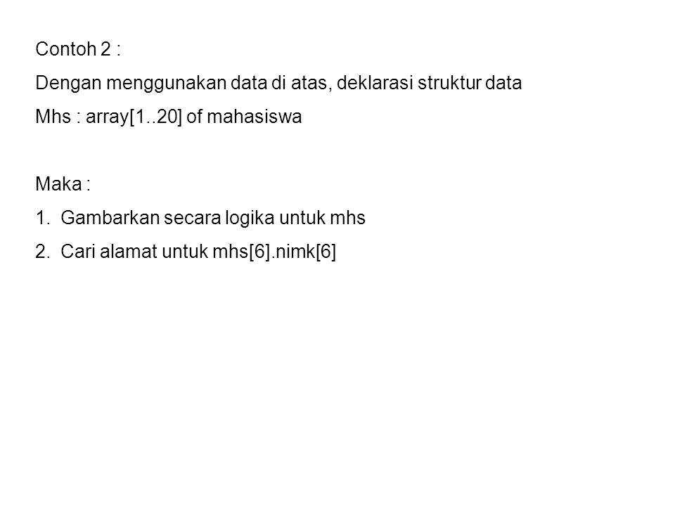 Contoh 2 : Dengan menggunakan data di atas, deklarasi struktur data. Mhs : array[1..20] of mahasiswa.